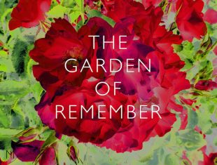 Digital image of red flowers and green foliage with the title 'The Garden of Remember' overlaid