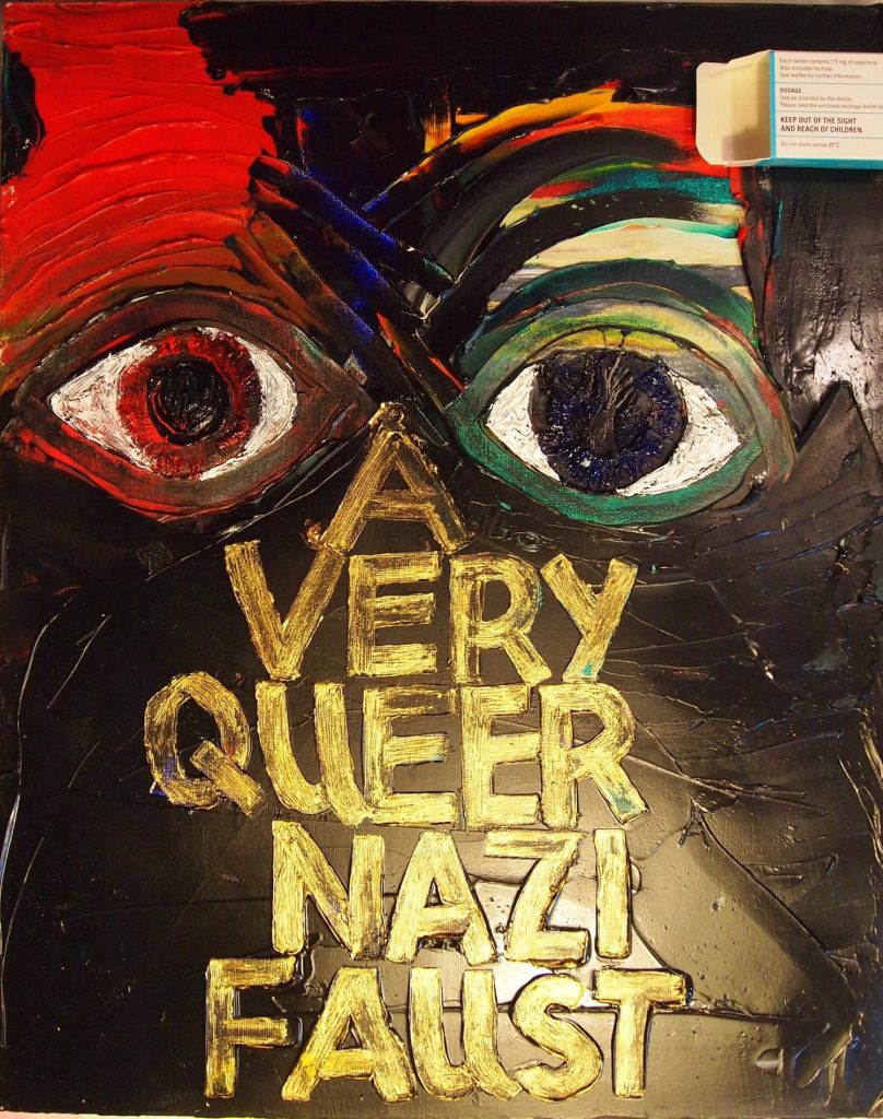 Energetic image of two eyes. Beneath them are the words 'A Very Queer Nazi Faust' in bold