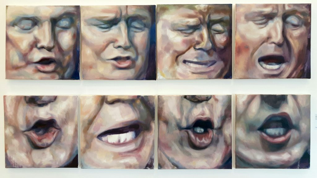 A series of eight small oil paintings of the mouth of US president Donald Trump