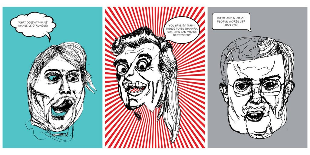 Series of three sketchily drawn faces with speech bubbles