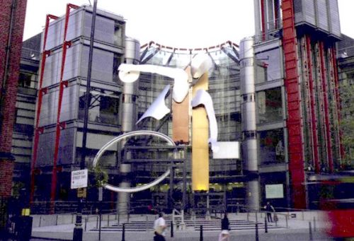 Image of sculpture sited outside the Channel 4 building in London