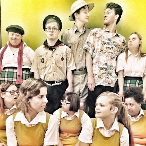 Photo of a group of learning disabled performers in scout costumes against a yellow background