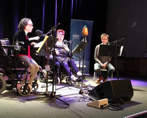 Photo of Liz Carr, Penny Pepper in the BBC stiudio recording