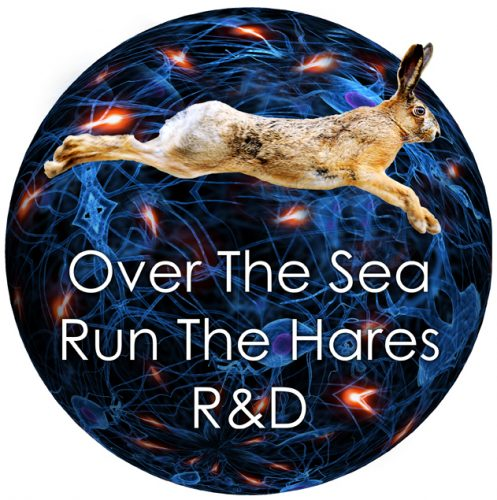 Image of a hare against a blue circular background with the title overlaid in white text