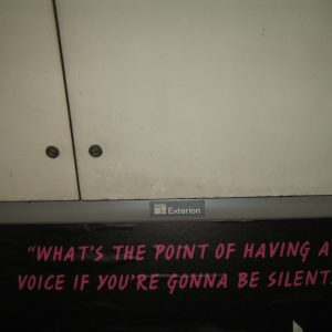 Pink writing cut from a film poster saying; 'what's the point of having a voice if you're gonna be silent'
