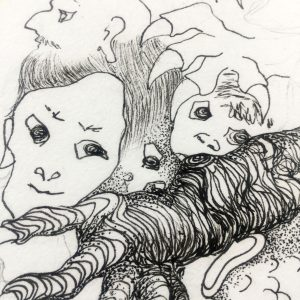 doodle with several faces drawn with simple line and shading in the foreground and a large claw, in the foregorund