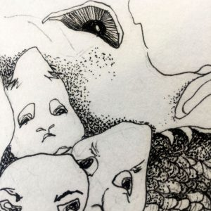 doodle with several faces drawn with simple line and shading in the foreground and a large eye, in the background