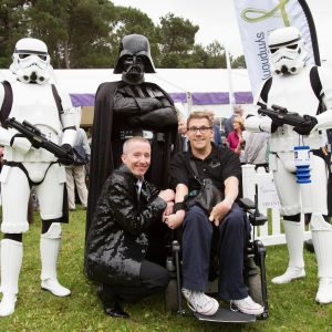 James Rose, Dougie Scarfe (the CEO of the BSO), Darth Vader and his Storm Troopers at the Proms in Meyrick Park, Bournemouth. Credit: Starlight Photography