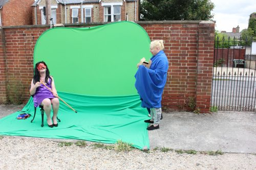 Shadowlight Artists shooting their new film L.R.R.H using greenscreen. Tom Breach (right) & Wendy Belcher (left)