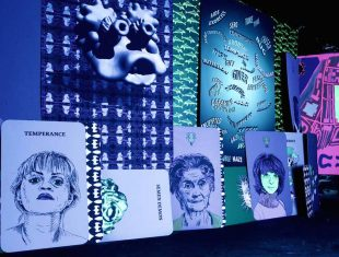 Photo of a series of artworks depicting a mix of abstact art and portraits