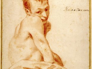 Sepia drawing of a young man with a spinal impairment