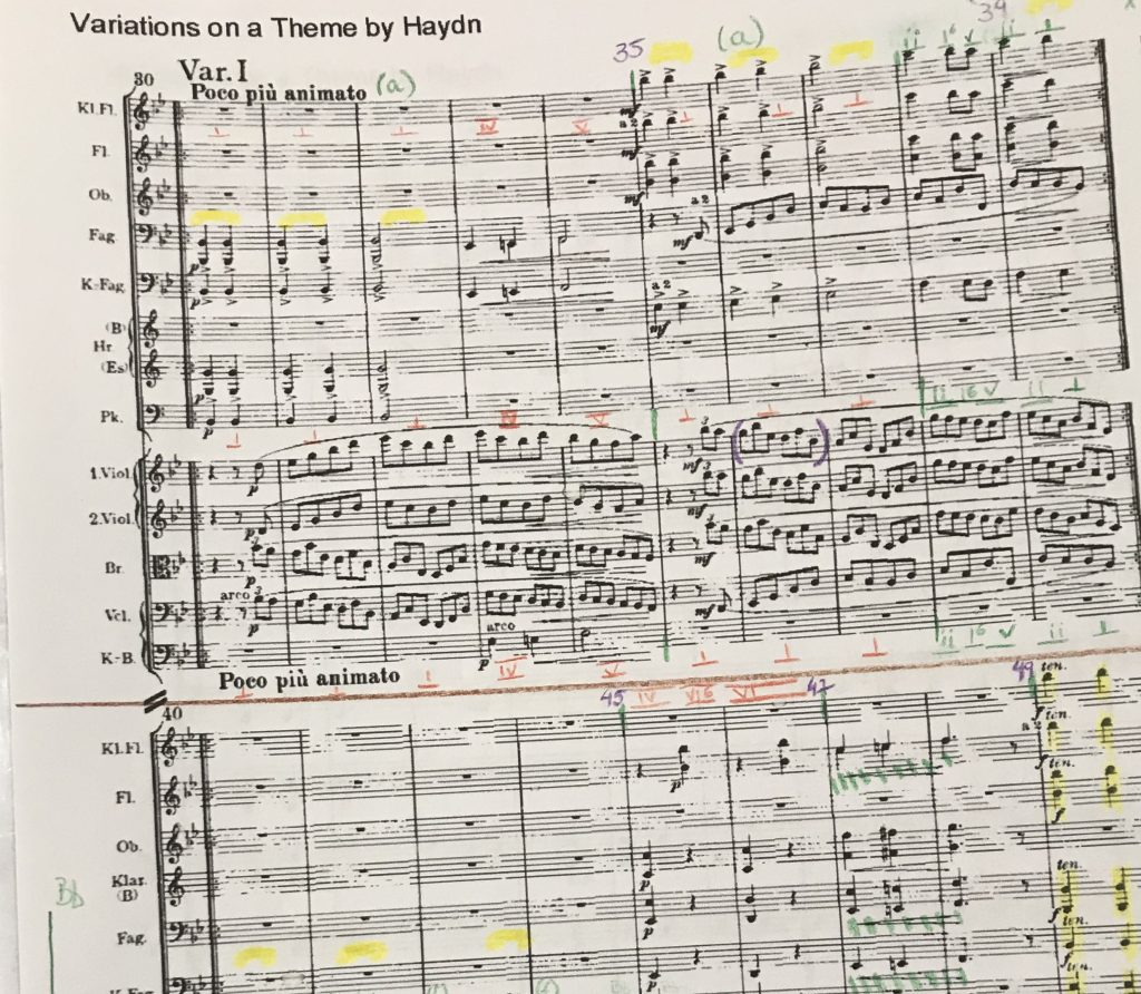 Full frame photo of a marked up musical score