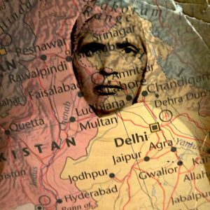 Image of an Indian woman layered over a sepia map of the country