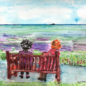 Watercolour painting of two people sitting on a bench looking out at the sea