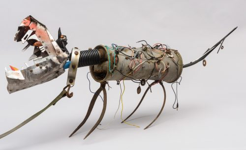 Sculpture of a dog using found materials