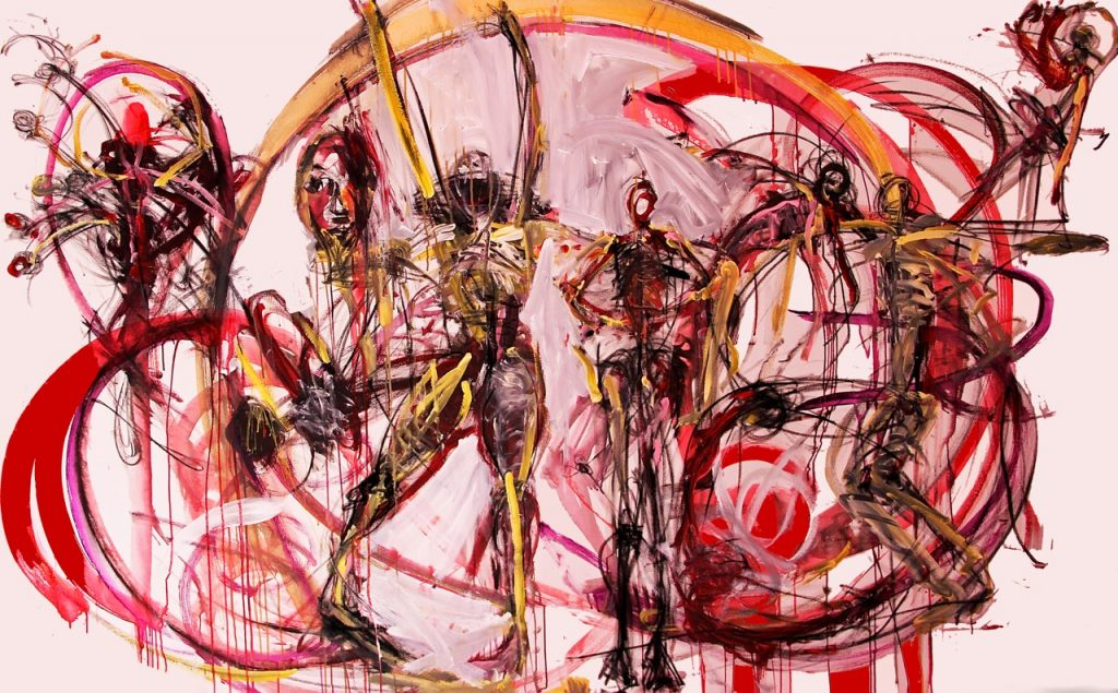 Swirling painting depicting 3 human forms in colours of red and yellow