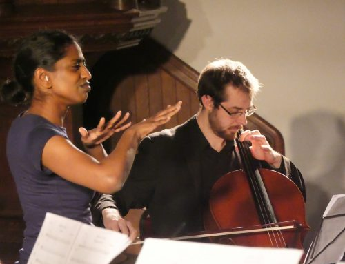 Photo of Nadia Nadarajah with James Greenfield on cello performing live