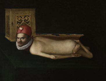 Paiinting of a disabled man lying down