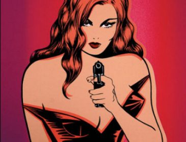 Noir cartoon of a redhead woman with a low-cut dress