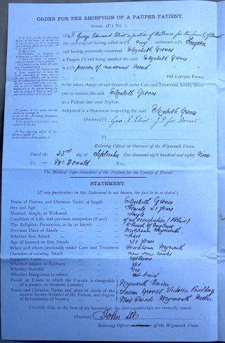 Copy of archival record of admission to hospital