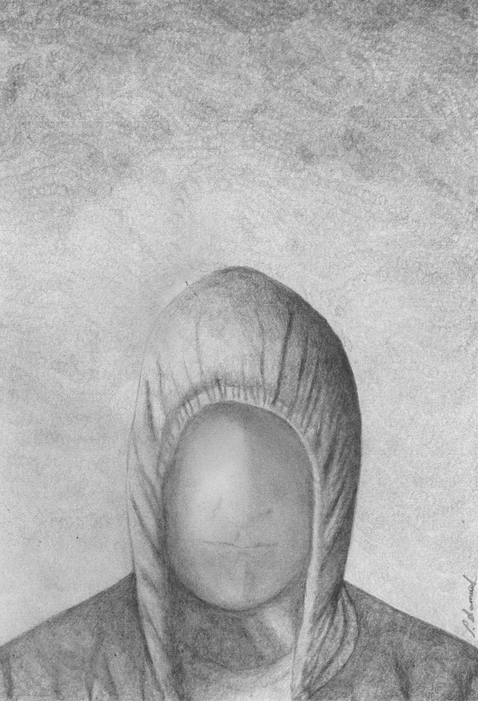 Black and white drawing of the head and shoulders of a faceless person