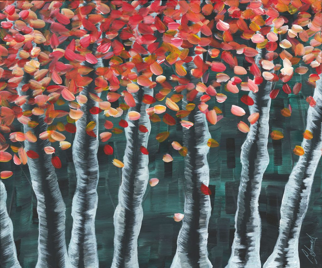 Painting of a row of trees with silver bark and red leaves