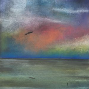 Painting of the sky and sea at twilight