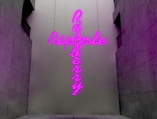 A pink neon crucifix displaying the words 'raspberry ripple'