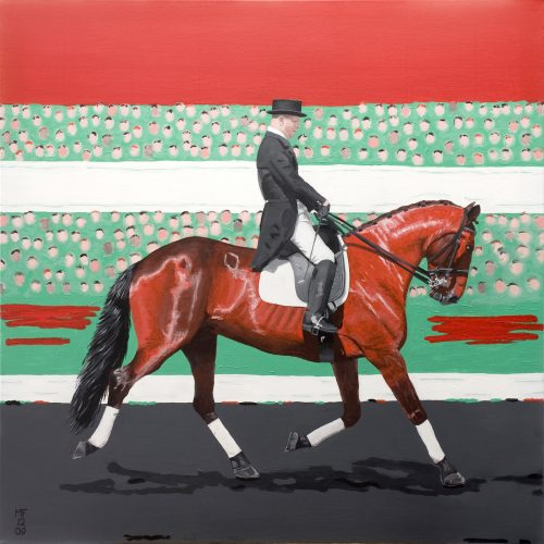 Painting of Lee Pearson riding the horse Gentleman
