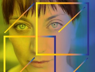 A woman's face with a cube overlaid on it