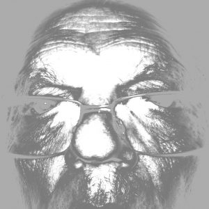 Black and white close up of a man's face