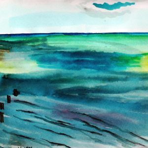 Watercolour painting of the sea