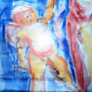 Pastel of a cherub loosely drawn in bright colours