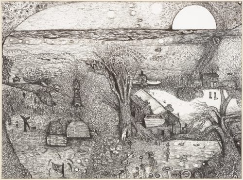 Ink drawing of a rural scene