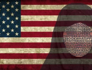 American flag with female wearing hijab on top of it
