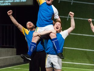 Photo of three actors dressed in blue rugby kit.