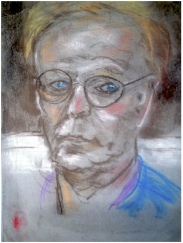 Pastel of the face of the author / artist Nick Lewis