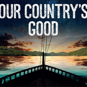 Our Countrys Good show artwork: boat with lanscape in the distance and starry sky.