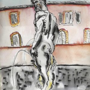Watercolour painting of a statue