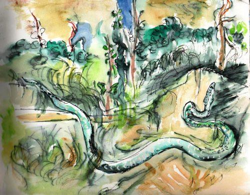 Watercolour painting of a landscape