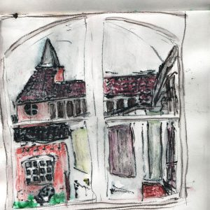 pastel drawing of a church seen thorugh a window