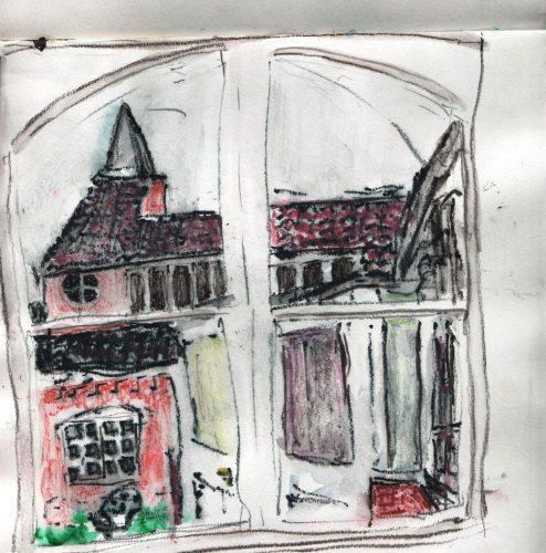 pastel drawing of a church seen thorugh a window