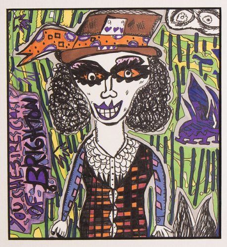 Pen and Ink 26 x 26 cm illustration of a female mad hatter