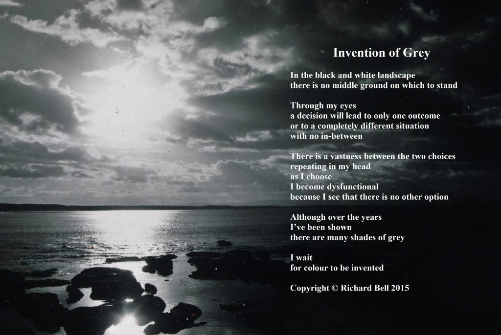 Black and white photograph of a seascape with poem overlaid