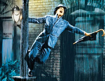 Singing in the rain iconic image