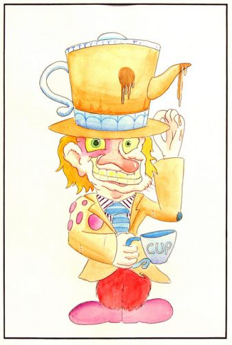 Pen and Ink, 35 x 25 cm illustration of the Mad Hatter