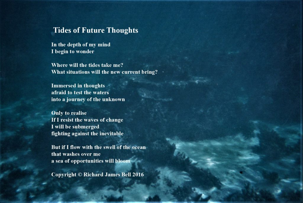 Underwater photograph with poem overlaid
