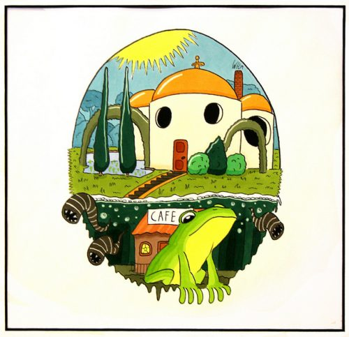 Illustration of a frog in front of an idyllic scene