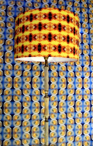 Lampshade and wallpaper with kaleidoscopic patterns