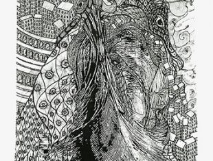 Detailed ink drawing on paper titled Yard birds